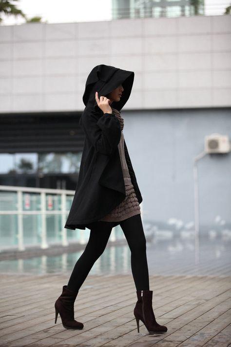 BLACK Long Sleeve Wool Winter Coat Wool Jacket by Sophiaclothing, $147.99