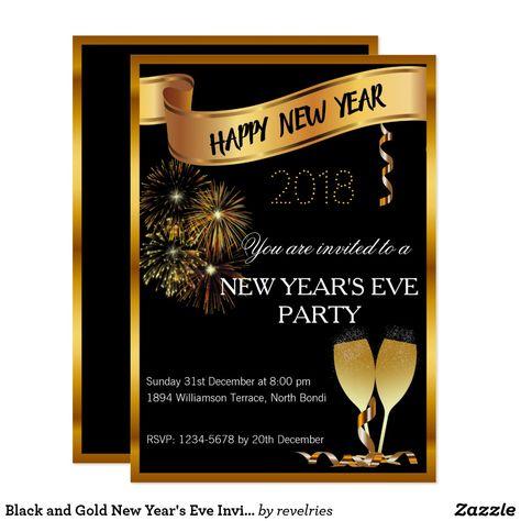 Black And Gold New Year S Eve Invite Zazzle Com New