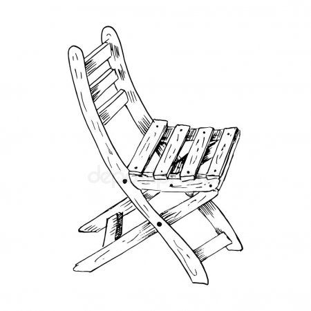 Hand Drawn Garden Chair Sketch Style Vector Illustration Of Wooden Garden Chair Ad Garden Chai Wooden Garden Chairs Art Chair Grey Leather Dining Chair