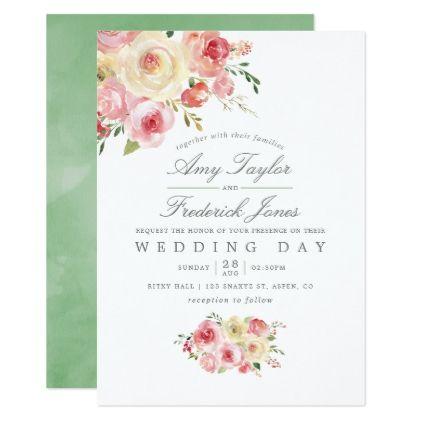 Blush And Sage Green Watercolor Floral Wedding Invitation Zazzle