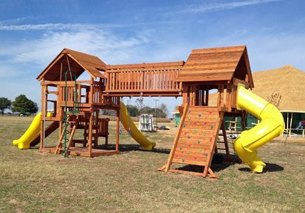 Offering Custom Redwood And Cedar Playsets And Swing Sets Custom Playset Fort D Kristi Caballero Offe In 2020 Backyard Playground Playset Outdoor Backyard Play