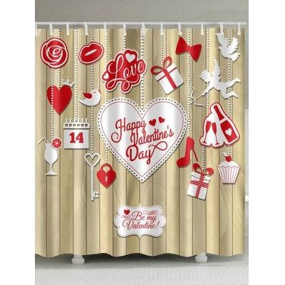 Valentine S Day Elements Print Waterproof Shower Curtain