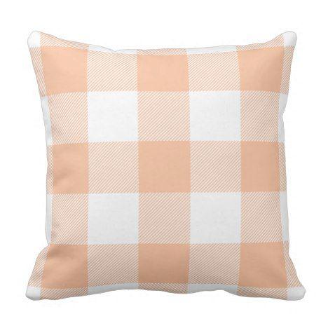 Buffalo Check Pastel Peach Throw Pillow