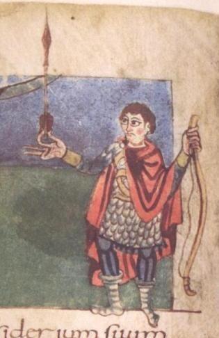 Psautier de Stuttgart (9°s): arc débandé, flèche type feuille de sauge, mais à douille- 33) DEMELES CONJUGAUX DE LOTHAIRE II: Elle aurait pourtant tort de se croire libéré de son époux. 863. L'année commence à Rome: le pape NICOLAS apprend par hasard le remariage de Lothaire. Il est vrai qu'on avait oublié de l'en informer.. Fureur du pontife. Mais si Lothaire et Gunther pendaient pouvoir le mettre devant le fait accompli, ils vont bientôt déchanter car ce pape est un homme de caractère.