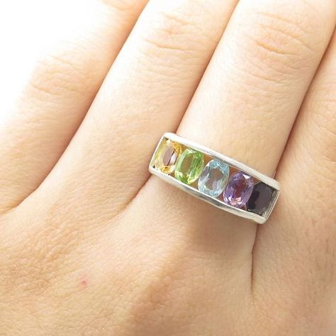 Sterling silver multicolor gemstone ring