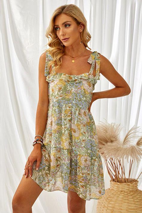Cute Summer Adjustable Tie Straps Multicolor Floral Chiffon Dress - (US 16-18)XL