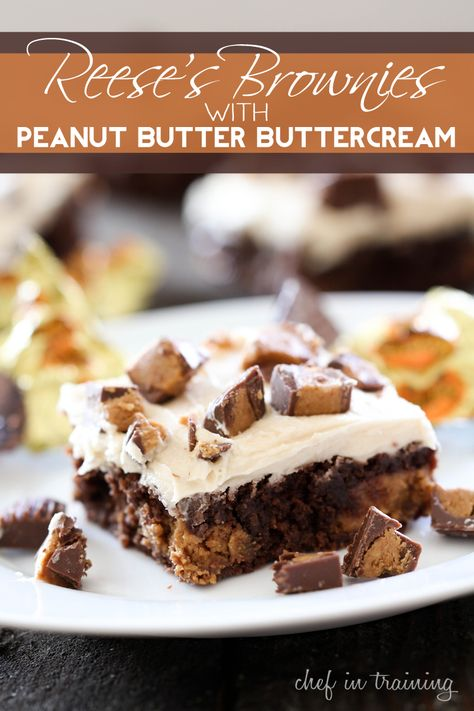 Reese's Brownies with Peanut Butter Buttercream