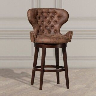 Mid City Wood And Upholstered Swivel Stool Chocolate Counter