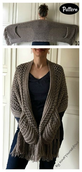 Easy Pocket Wrap Crochet Pattern Shawl Crochet, Crochet Wrap Pattern, Crochet Shawls And Wraps, Knit Or Crochet, Crochet Scarves, Crochet Crafts, Crochet Clothes, Crochet Stitches, Crochet Projects