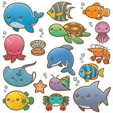 Resultado De Imagen Para Dibujos Animados De Peces Y Animales Marinos Garabatos De Animales Mar Animado Animales Marinos