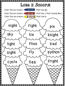 Long Vowel I Teams Igh Ie And Y That Sounds Like I Vowel Sounds Activities Teaching Phonics Phonics Kindergarten