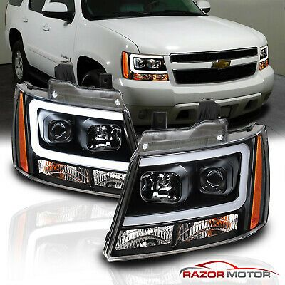 2007 2014 Chevy Suburban Tahoe Avalanche Black Led Bar Projector Headlights Pair Chevy Avalanche Chevy Suburban 2014 Chevy