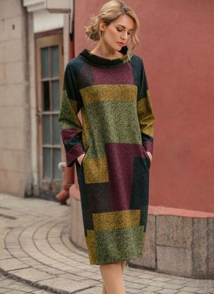 Color Block Pockets Long Sleeve Midi Shift Dress (1955371237)