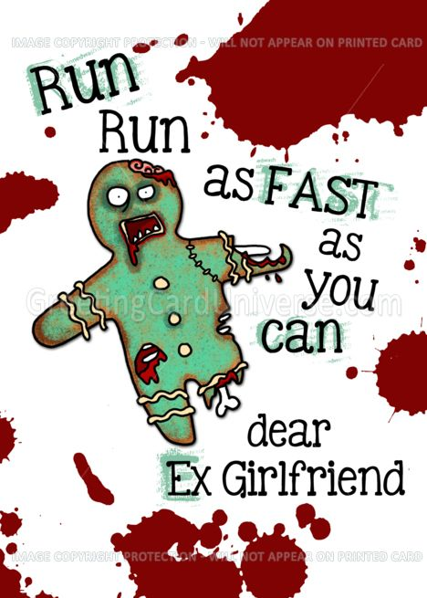 For Ex Girlfriend Undead Gingerbread Man Zombie Christmas Card