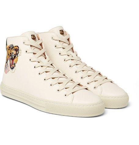 2afddcb9a50 GUCCI MAJOR TIGER-APPLIQUÉD FULL-GRAIN LEATHER HIGH-TOP SNEAKERS.  gucci   shoes