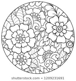 Outline Round Floral Pattern For Coloring Book Page Antistress