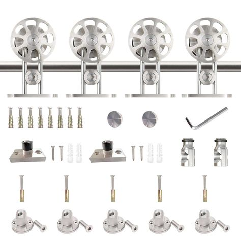 Winsoon 7 5 Ft 90 In Stainless Steel Sliding Barn Door Hardware Kit Spoke Wheel For Double Door With Non Routed Floor Guide Silver Sliding Barn Door Hardware Barn Door Hardware Double Doors