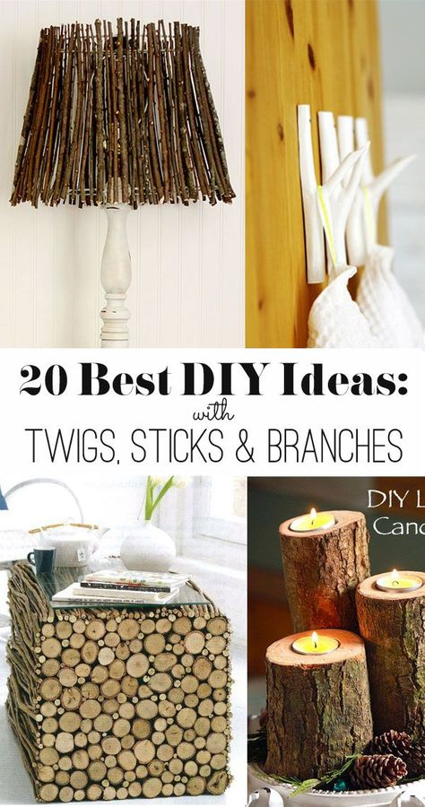 20 Ideas To Make With Twigs Sticks And Branches I Love These Natural Decor Ideas Naturaldecorideas Diydecor Farmhousest Branches Diy Twig Crafts Wood Diy