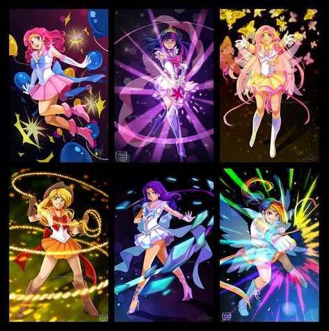 """Complete+set+of+posters+of+the+Mane+6+from+""""My+Little+Pony""""+as+a+Sailor+Senshi!+Includes:+Twilight+Sparkle,+Pinkie+Pie,+Rainbow+Dash,+Fluttershy,+Apple+Jack,+and+Rarity.+Special+Combo+price! Sizes:+11x17''+each Printed+on:+Glossy+card+stock+paper. Artist+signature+upon+request! *Actual+..."""