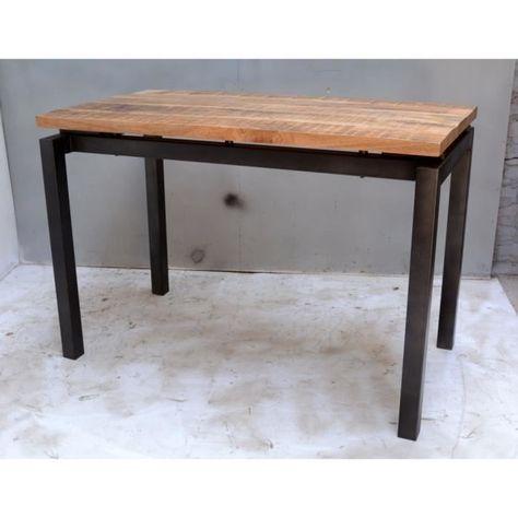 Table Haute Au Style Industriel Avec Plateau En Bois Massif Et