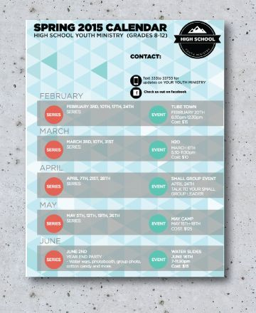 We Designed This Calendar For Our Jr Youth Ministry And It
