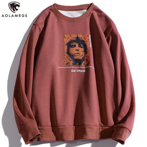 20.51US $ 40% OFF Aolamegs Fleece Casual Sweatshirts Men Fashion Character Print Hoodie Korean Style Loose Pullover High Street Hip Hop Streetwear Hoodies & Sweatshirts    - AliExpress