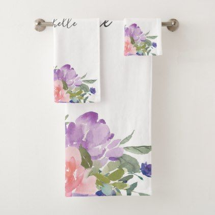 Blush Pink And Purple Watercolor Floral Bath Towel Set Spring
