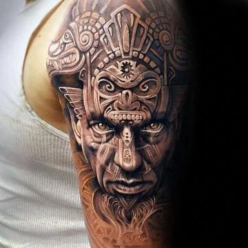 Tatuajes Aztecas Y Mayas En El Brazo 3d Fullsleevetattoos Full Sleeve Tattoos Tattoos For Guys Aztec Tattoos