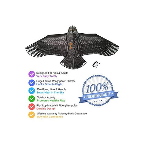 Sun Kites Large Eagle Bird Kite for Kids Adults Boys /& Girls Huge Wingspan and Lifelike Design Easy to Assemble /& Fly
