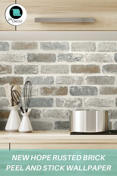 New Hope Rusted Brick Peel And Stick Wallpaper Brick Backsplash Kitchen Diy Kitchen Backsplash Kitchen Wallpaper