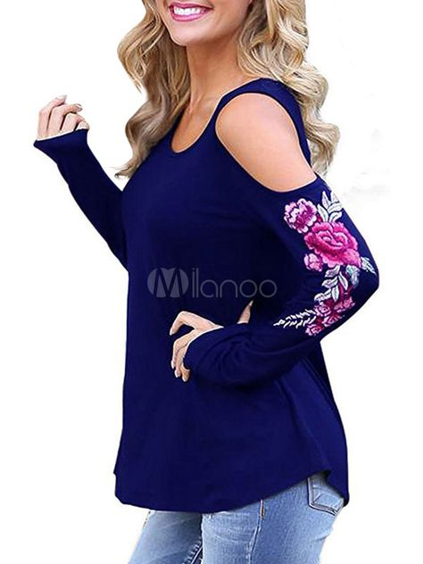 03371db4f4a8cc Blue T Shirt Long Sleeve Cold Shoulder Floral Embroidered Cotton Top For  Women  Sleeve