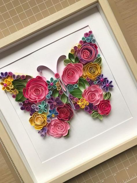 Quilling Art - Quilling flowers butterfly - Quilling Paper Art - Framed floral butterfly - Handcraft