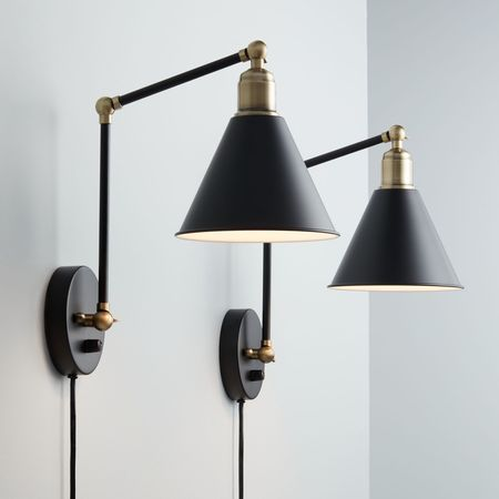 360 Lighting Modern Wall Lamp Plug In Set Of 2 Black And Antique Brass For Bedroom Reading Living Room Walmart Com Plug In Wall Lamp Modern Wall Lamp Plug In Wall Sconce