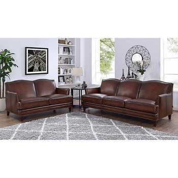 Caterina 2 Piece Top Grain Leather Set Sofa Loveseat Leather Sofa And Loveseat Top Grain Leather Sofa Cowhide Furniture