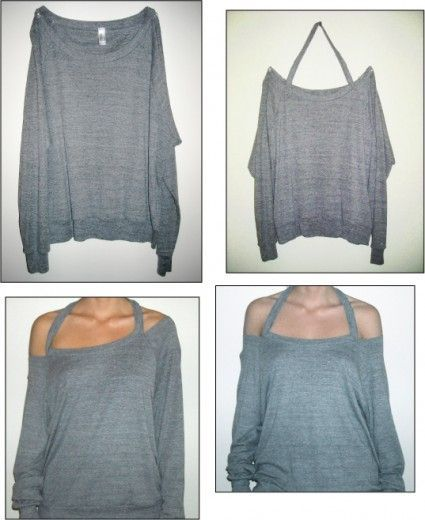 DIY halter sweatshirt. Would work with a T-shirt, too. This would be a nice way to alter the neckline while making sure it doesnt fall off
