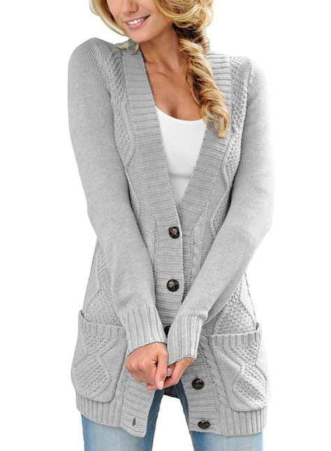 2018 Autumn Style Deep V-neck Buttons Pockets Long Women Cardigan ... 3c0203906