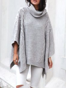 Grey Long Sleeve Loose Sweater -SheIn(Sheinside)