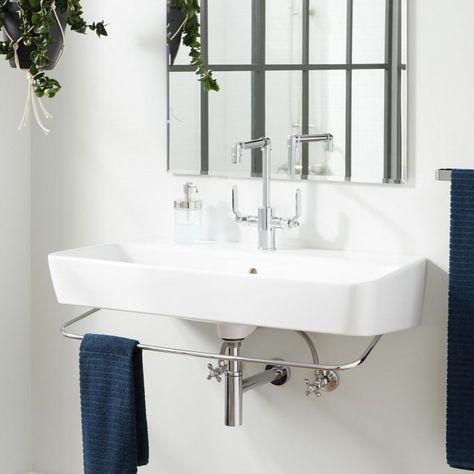35 Fawcett Porcelain Wall Mount Sink With Towel Bar Wall Mounted Sink Wall Mounted Bathroom Sinks
