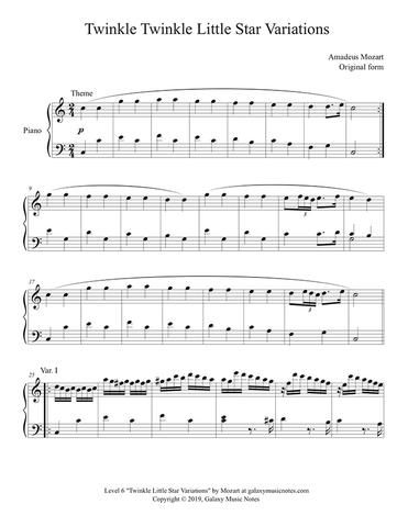 Twinkle Little Star 12 Variations By Mozart Level 6 Piano Sheet