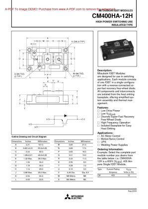Cm400ha 12h Mitsubishi Igbt Power Transistor Module Power Mitsubishi Transistors