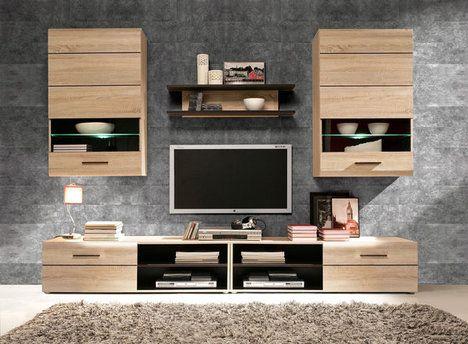 Wohnwand COMBINO - 246 cm breit Wohnzimmer Pinterest - moderner wohnzimmerschrank mit glastüren und led beleuchtung