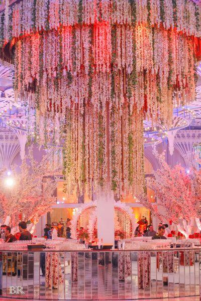 Huge Floral Chandelier For Indoor Decor Wedding Sangeet Decor