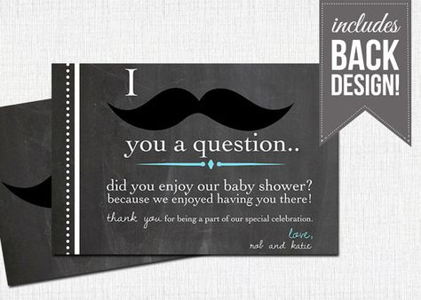 Couples Mustache Baby Shower Thank You Card Tiny Tots Baby