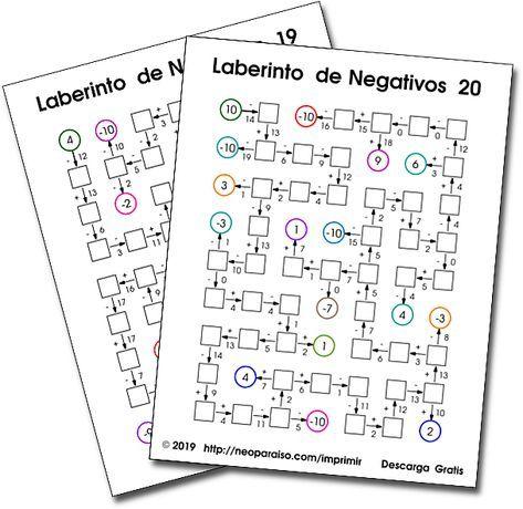 Laberintos Matemáticos Repaso De Sumas Y Restas Con Números Negativos Juegos M Juegos Matematicos Para Imprimir Juegos De Matemáticas Juegos Multiplicaciones