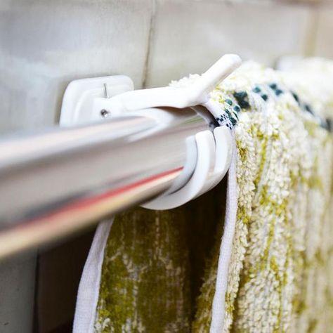 New Self Adhesive Hooks Curtain Rod Bracket Pole Drapery Holders Curtains PC