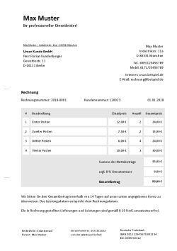 Rechnungsvorlage Fur Privatpersonen Rechnungsvorlage Rechnung Vorlage Online Schreiben