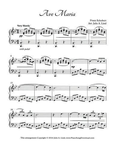 Ave Maria By Schubert Piano Solo With Free Sheet Music Piano