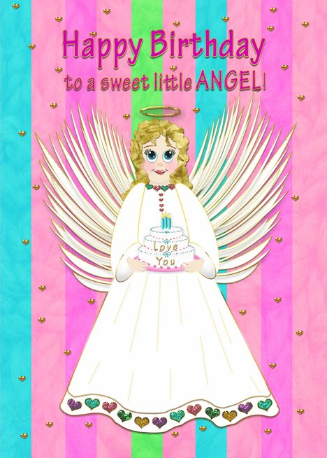 Birthday To Sweet Little Angel Angel Holding Birthday Cake Girl