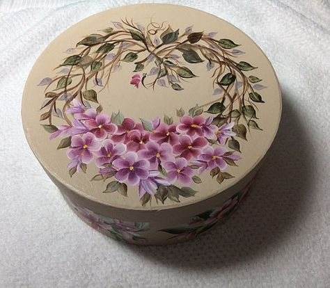 ROUND Grape vine Heart  Floral Gift Box - Keepsake - Trinket box - Hand painted on Etsy