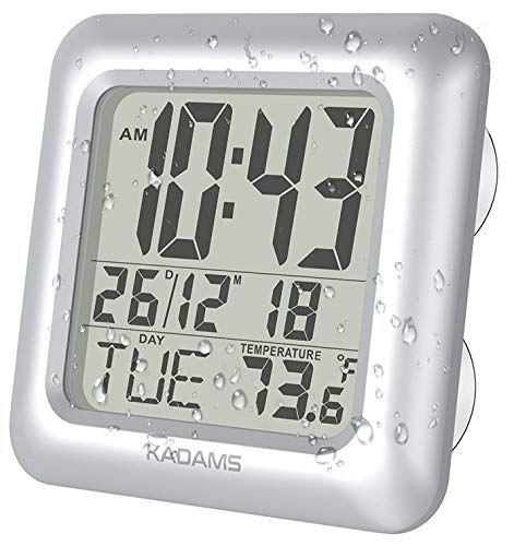 Kadams Digital Bathroom Shower Clock Waterproof For Water Spray Temperature Thermometer Seconds Moisture Proof Ca Clock Wall Clock Calendar Date